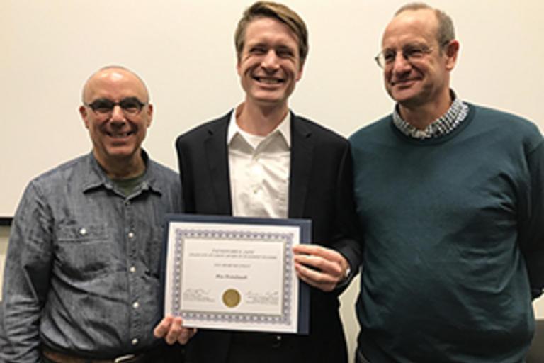 Robert Sharf (Chair, Center for Buddhist Studies),  Max Brandstadt (2018 recipient of the Padmanabh S. Jani Award in Buddhist Studies), Alexander von Rospatt (Director, Group in Buddhist Studies).