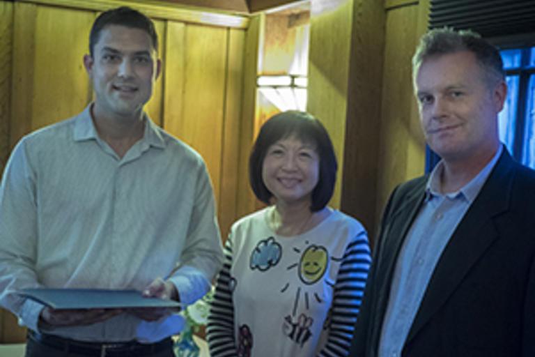 (L-R) Joshua Dultz (2018 Khyentse Award Winner),  Cangioli Che (Executive Director, Khyentse Foundation),  and Jacob Dalton (UCB Khyentse Professor of Tibetan Buddhism)